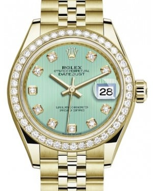 Rolex Lady Datejust 28 Yellow Gold Mint Green Diamond Dial & Diamond Bezel Jubilee Bracelet 279138RBR - BRAND NEW
