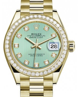 Rolex Lady Datejust 28 Yellow Gold Mint Green Diamond Dial & Diamond Bezel President Bracelet 279138RBR - BRAND NEW