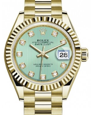 Rolex Lady Datejust 28 Yellow Gold Mint Green Diamond Dial & Fluted Bezel President Bracelet 279178 - BRAND NEW