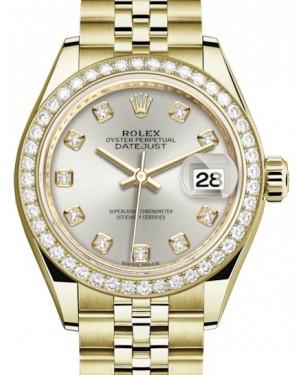 Rolex Lady Datejust 28 Yellow Gold Silver Diamond Dial & Diamond Bezel Jubilee Bracelet 279138RBR - BRAND NEW
