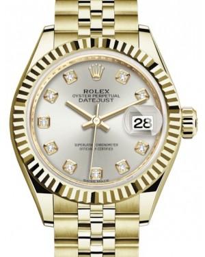 Rolex Lady Datejust 28 Yellow Gold Silver Diamond Dial & Fluted Bezel Jubilee Bracelet 279178 - BRAND NEW