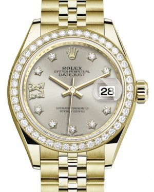 Rolex Lady Datejust 28 Yellow Gold Silver Diamond IX Dial & Diamond Bezel Jubilee Bracelet 279138RBR - BRAND NEW