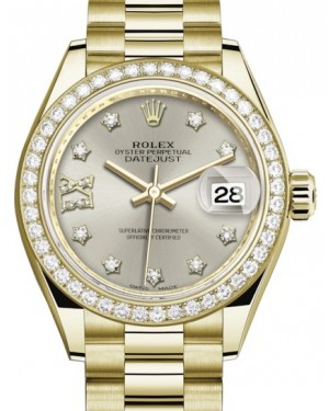 Rolex Lady Datejust 28 Yellow Gold Silver Diamond IX Dial & Diamond Bezel President Bracelet 279138RBR - BRAND NEW
