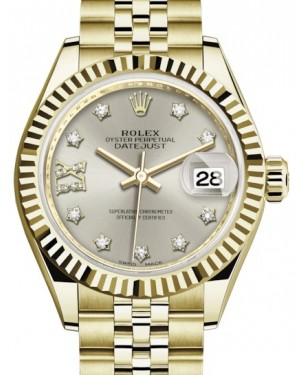 Rolex Lady Datejust 28 Yellow Gold Silver Diamond IX Dial & Fluted Bezel Jubilee Bracelet 279178 - BRAND NEW