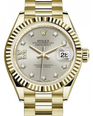 Rolex Lady Datejust 28 Yellow Gold Silver Diamond IX Dial & Fluted Bezel President Bracelet 279178 - BRAND NEW