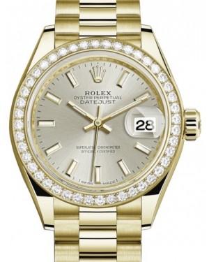 Rolex Lady Datejust 28 Yellow Gold Silver Index Dial & Diamond Bezel President Bracelet 279138RBR - BRAND NEW