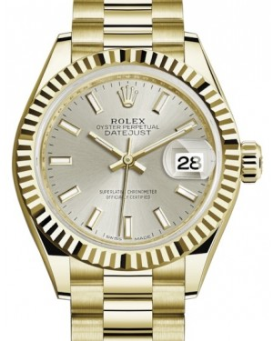 Rolex Lady Datejust 28 Yellow Gold Silver Index Dial & Fluted Bezel President Bracelet 279178 - BRAND NEW