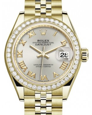 Rolex Lady Datejust 28 Yellow Gold Silver Roman Dial & Diamond Bezel Jubilee Bracelet 279138RBR - BRAND NEW
