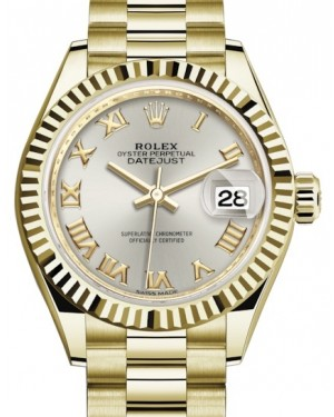 Rolex Lady Datejust 28 Yellow Gold Silver Roman Dial & Fluted Bezel President Bracelet 279178 - BRAND NEW