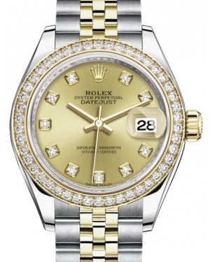 Rolex Lady Datejust 28 Yellow Gold/Steel Champagne Diamond Dial & Diamond Bezel Jubilee Bracelet 279383RBR - BRAND NEW