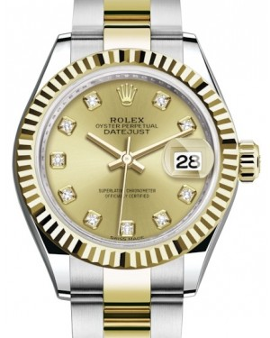 Rolex Lady Datejust 28 Yellow Gold/Steel Champagne Diamond Dial & Fluted Bezel Oyster Bracelet 279173 - BRAND NEW
