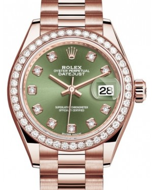Rolex Datejust 28 279135 Olive Green Diamond Markers & Bezel Rose Gold President - BRAND NEW
