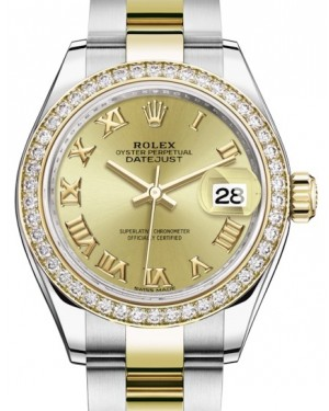 Rolex Lady Datejust 28 Yellow Gold/Steel Champagne Roman Dial & Diamond Bezel Oyster Bracelet 279383RBR - BRAND NEW