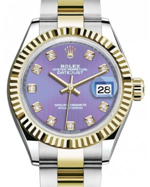 Rolex Lady Datejust 28 Yellow Gold/Steel Lavender Diamond Dial & Fluted Bezel Oyster Bracelet 279173 - BRAND NEW