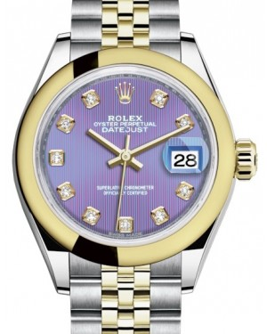 Rolex Lady Datejust 28 Yellow Gold/Steel Lavender Diamond Dial & Smooth Domed Bezel Jubilee Bracelet 279163 - BRAND NEW