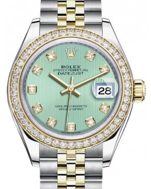 Rolex Lady Datejust 28 Yellow Gold/Steel Mint Green Diamond Dial & Diamond Bezel Jubilee Bracelet 279383RBR - BRAND NEW