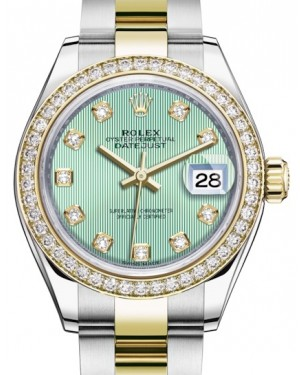 Rolex Lady Datejust 28 Yellow Gold/Steel Mint Green Diamond Dial & Diamond Bezel Oyster Bracelet 279383RBR - BRAND NEW