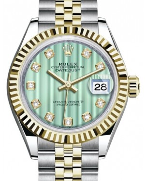 Rolex Lady Datejust 28 Yellow Gold/Steel Mint Green Diamond Dial & Fluted Bezel Jubilee Bracelet 279173 - BRAND NEW