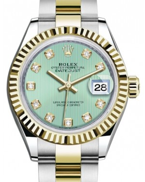 Rolex Lady Datejust 28 Yellow Gold/Steel Mint Green Diamond Dial & Fluted Bezel Oyster Bracelet 279173 - BRAND NEW