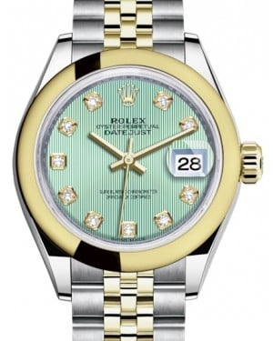 Rolex Lady Datejust 28 Yellow Gold/Steel Mint Green Diamond Dial & Smooth Domed Bezel Jubilee Bracelet 279163 - BRAND NEW