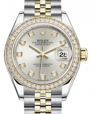 Rolex Lady Datejust 28 Yellow Gold/Steel Silver Diamond Dial & Diamond Bezel Jubilee Bracelet 279383RBR - BRAND NEW