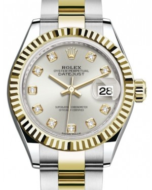 Rolex Lady Datejust 28 Yellow Gold/Steel Silver Diamond Dial & Fluted Bezel Oyster Bracelet 279173 - BRAND NEW