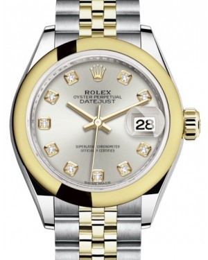 Rolex Lady Datejust 28 Yellow Gold/Steel Silver Diamond Dial & Smooth Domed Bezel Jubilee Bracelet 279163 - BRAND NEW