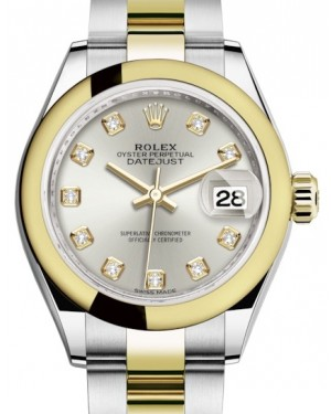 Rolex Lady Datejust 28 Yellow Gold/Steel Silver Diamond Dial & Smooth Domed Bezel Oyster Bracelet 279163 - BRAND NEW