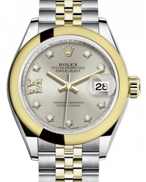 Rolex Lady Datejust 28 Yellow Gold/Steel Silver Diamond IX Dial & Smooth Domed Bezel Jubilee Bracelet 279163 - BRAND NEW