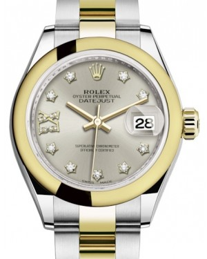 Rolex Lady Datejust 28 Yellow Gold/Steel Silver Diamond IX Dial & Smooth Domed Bezel Oyster Bracelet 279163 - BRAND NEW
