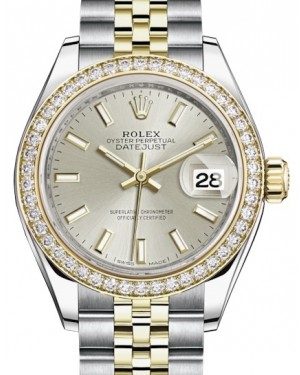 Rolex Lady Datejust 28 Yellow Gold/Steel Silver Index Dial & Diamond Bezel Jubilee Bracelet 279383RBR - BRAND NEW