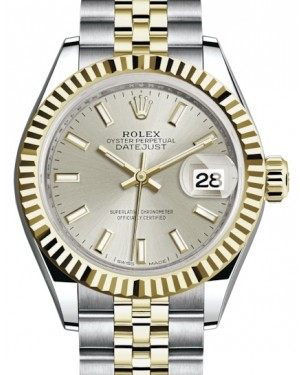 Rolex Lady Datejust 28 Yellow Gold/Steel Silver Index Dial & Fluted Bezel Jubilee Bracelet 279173 - BRAND NEW