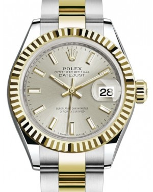 Rolex Lady Datejust 28 Yellow Gold/Steel Silver Index Dial & Fluted Bezel Oyster Bracelet 279173 - BRAND NEW