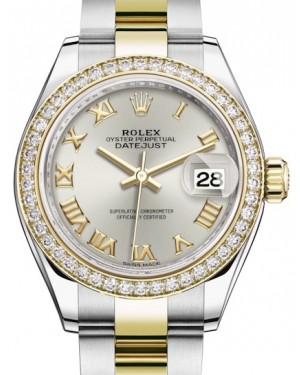Rolex Lady Datejust 28 Yellow Gold/Steel Silver Roman Dial & Diamond Bezel Oyster Bracelet 279383RBR - BRAND NEW