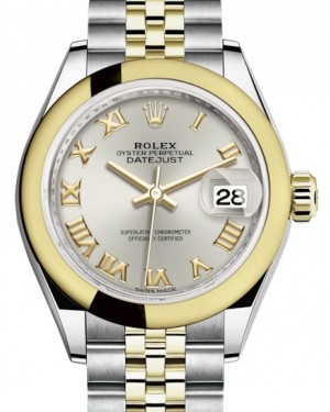 Rolex Lady Datejust 28 Yellow Gold/Steel Silver Roman Dial & Smooth Domed Bezel Jubilee Bracelet 279163 - BRAND NEW