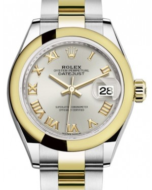 Rolex Lady Datejust 28 Yellow Gold/Steel Silver Roman Dial & Smooth Domed Bezel Oyster Bracelet 279163 - BRAND NEW