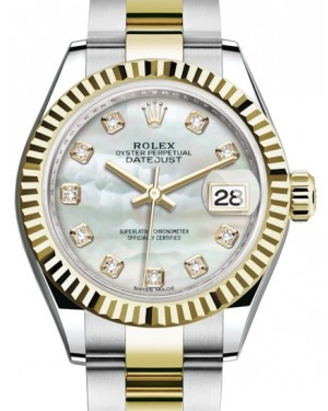 Rolex Lady Datejust 28 Yellow Gold/Steel White Mother of Pearl Diamond Dial & Fluted Bezel Oyster Bracelet 279173 - BRAND NEW