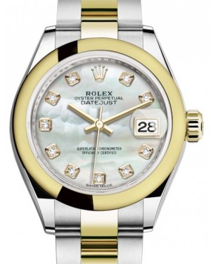 Rolex Lady Datejust 28 Yellow Gold/Steel White Mother of Pearl Diamond Dial & Smooth Domed Bezel Oyster Bracelet 279163 - BRAND NEW