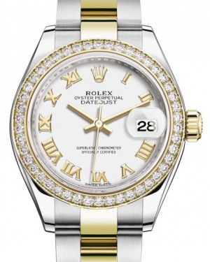 Rolex Lady Datejust 28 Yellow Gold/Steel White Roman Dial & Diamond Bezel Oyster Bracelet 279383RBR - BRAND NEW