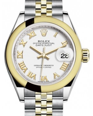 Rolex Lady Datejust 28 Yellow Gold/Steel White Roman Dial & Smooth Domed Bezel Jubilee Bracelet 279163 - BRAND NEW
