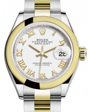 Rolex Lady Datejust 28 Yellow Gold/Steel White Roman Dial & Smooth Domed Bezel Oyster Bracelet 279163 - BRAND NEW