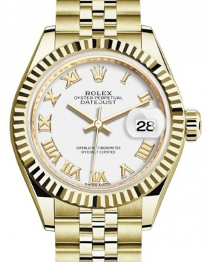 Rolex Lady Datejust 28 Yellow Gold White Roman Dial & Fluted Bezel Jubilee Bracelet 279178 - BRAND NEW
