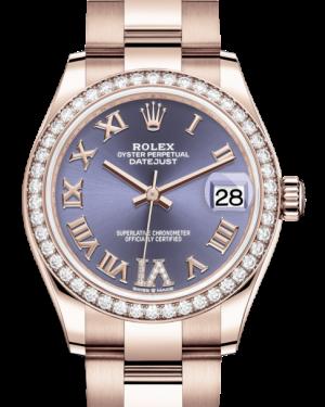 Rolex Lady-Datejust 31 Rose Gold Aubergine Roman Diamond VI Dial & Diamond Bezel Oyster Bracelet 278285RBR - BRAND NEW