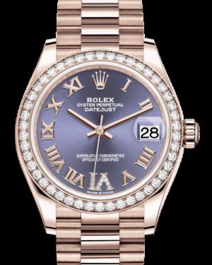 Rolex Lady-Datejust 31 Rose Gold Aubergine Roman Diamond VI Dial & Diamond Bezel President Bracelet 278285RBR - BRAND NEW