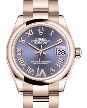 Rolex Lady-Datejust 31 Rose Gold Aubergine Roman Diamond VI Dial & Smooth Domed Bezel Oyster Bracelet 278245 - BRAND NEW