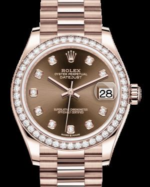 Rolex Lady-Datejust 31 Rose Gold Chocolate Diamond Dial & Diamond Bezel President Bracelet 278285RBR - BRAND NEW