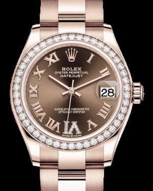 Rolex Lady-Datejust 31 Rose Gold Chocolate Roman Diamond VI Dial & Diamond Bezel Oyster Bracelet 278285RBR - BRAND NEW