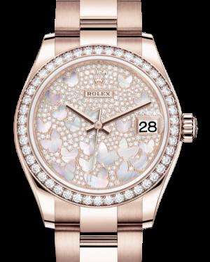 Rolex Lady-Datejust 31 Rose Gold Mother of Pearl Butterfly Diamond Paved Dial & Diamond Bezel Oyster Bracelet 278285RBR - BRAND NEW