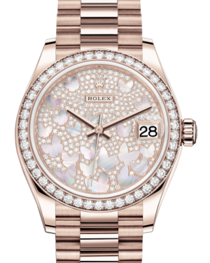 Rolex Lady-Datejust 31 Rose Gold Mother of Pearl Butterfly Diamond Paved Dial & Diamond Bezel President Bracelet 278285RBR - BRAND NEW