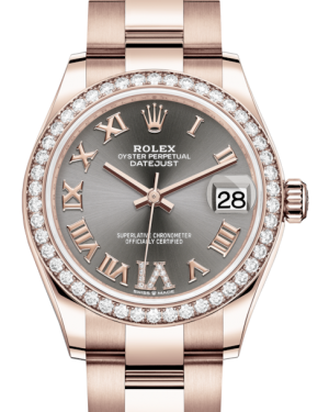Rolex Lady-Datejust 31 Rose Gold Rhodium Roman Diamond VI Dial & Diamond Bezel Oyster Bracelet 278285RBR - BRAND NEW